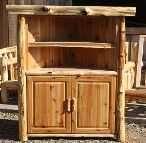 Log Corner TV Stand Tall ? Barn Wood Furniture   Rustic