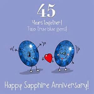 45th wedding anniversary greetings card sapphire anniversary