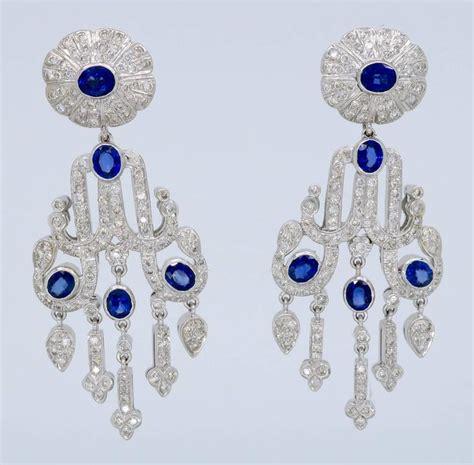 Sapphire Chandelier Earrings Italian 4 00 Carats Diamonds Blue Sapphire Gold Chandelier Earrings For Sale At 1stdibs