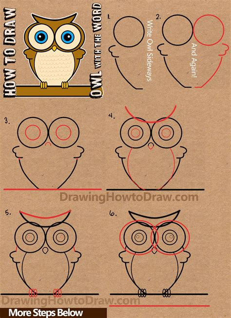 Drawing W Words by How To Draw A Owl From Word Owl Drawing Tutorial