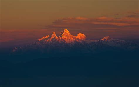 hd background himalaya mountain range orange sunset snow