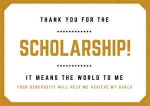 scholarship thank you letter exles