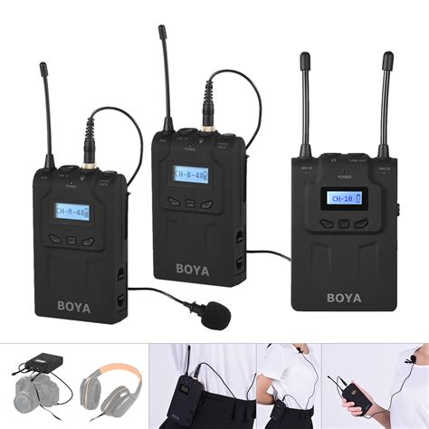Mic Wireless Clip On 4 Channel M114 Original Multy Channel boya by wm8 pro clip on uhf dual channel wireless mic microphone system audio recorder 2