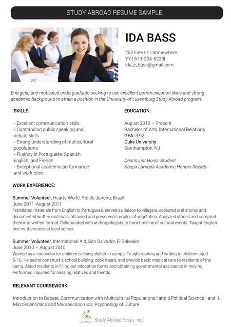 Study Abroad Resume by Our Study Abroad Resume Writing Assistance Study Abroad
