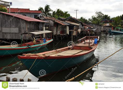 fishing boat for sale cambodia cambodian fishing village and stilt houses stock photo