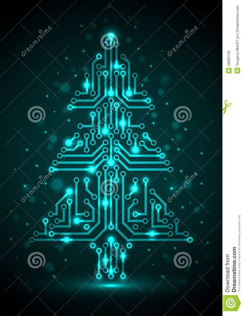 digital christmas tree stock vector image of backdrop