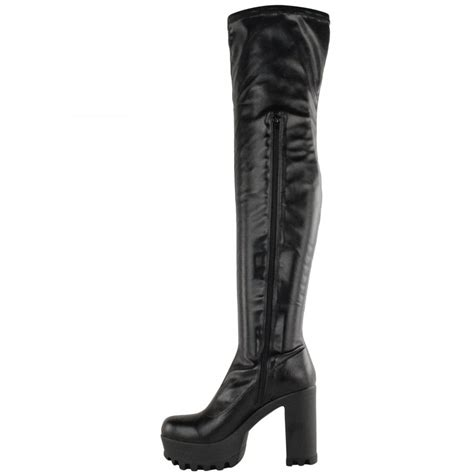 alysha black leather knee high block heel boots parisia