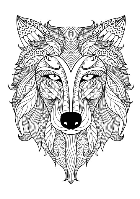 Incredible wolf - Wolves Adult Coloring Pages
