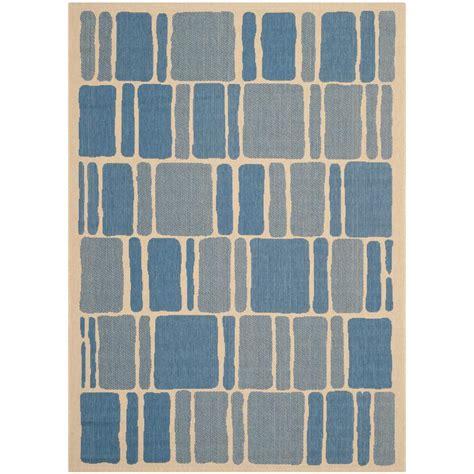 Safavieh Veranda Cream Blue 8 Ft X 11 Ft 2 In Indoor Outdoor Rugs Home Depot