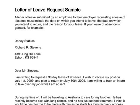 Leave Request Letter Sle To Manager Letter Of Leave