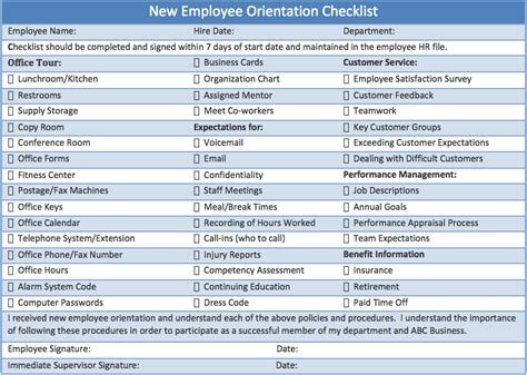 employee induction orientation printable checklist template sle for new employee