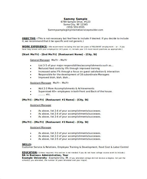 Restaurant General Manager Resume by Manager Resume Sle Templates 43 Free Word Pdf