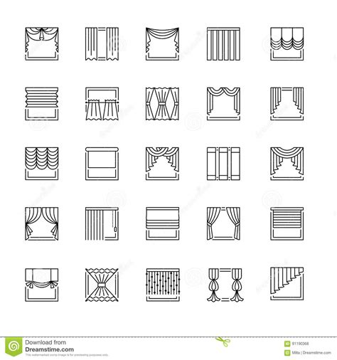 persianas meaning vector line icons with drapes window curtains blinds and