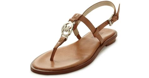 Sandal Wanita Ina Flat Shoes Beige michael kors flat sandals in brown lyst