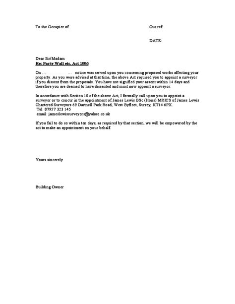 Wall Agreement Letter Uk Wall Agreement Form Sle Free