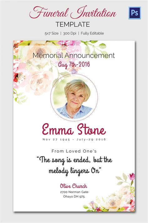 templates for funeral announcements 15 funeral invitation templates free sle exle