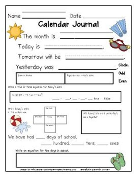 printable journal pages first grade calendar math worksheets first grade first grade mental