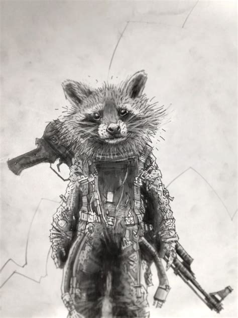 marvel film with raccoon rocket raccoon the guardians of the galaxy by tomas