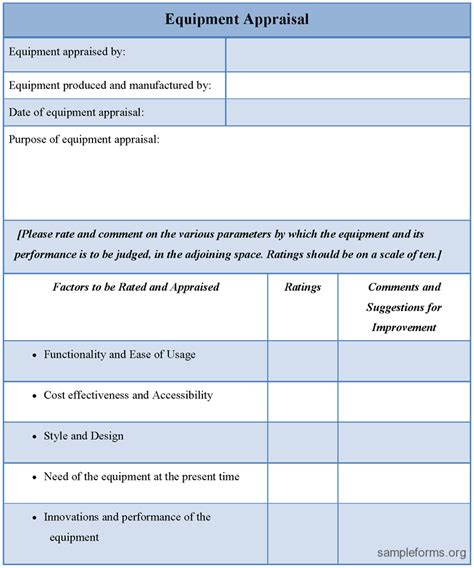 Equipment Appraisal Form Sle Forms Equipment Appraisal Form Template