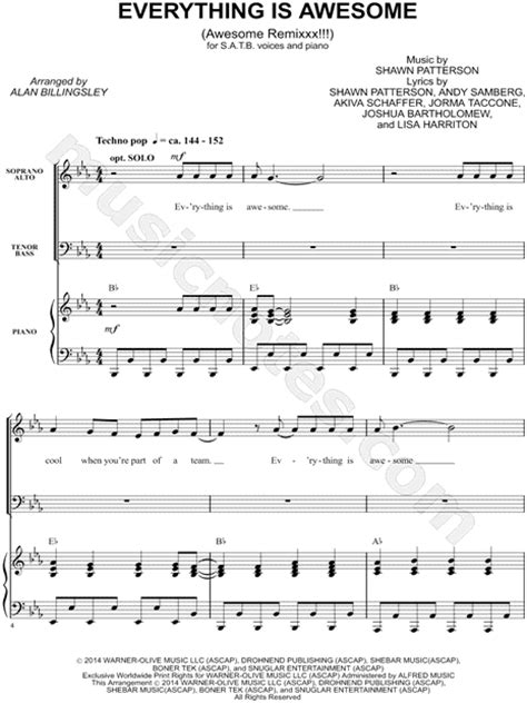 printable lyrics to everything is awesome lego movie quot everything is awesome quot from the lego movie arr alan