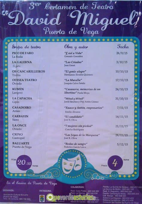 criadas y seoras edicin iii certamen de teatro quot david miguel quot en puerto de vega 2015 cine y teatro en navia asturias
