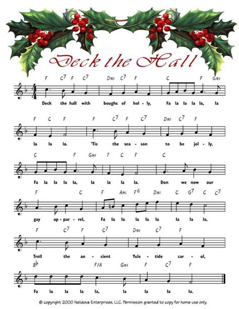 printable lyrics for deck the halls 72 best images about christmas assorted sheet music free