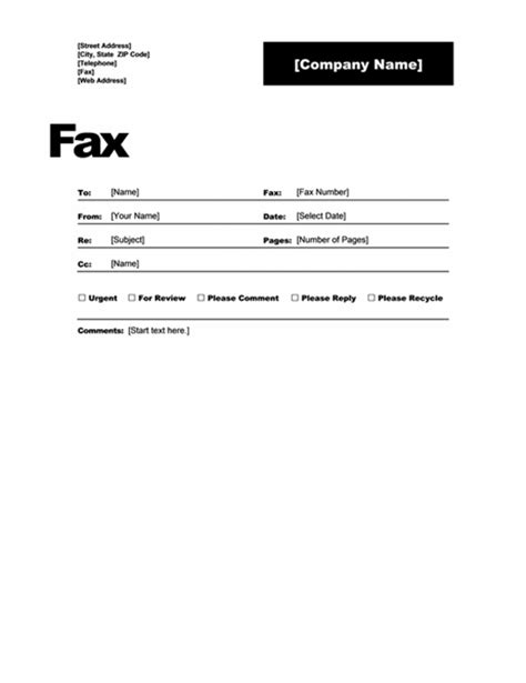 Fax Cover Microsoft Office Fax Template