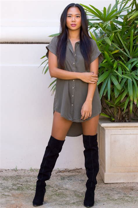 dress olive dress olive green boots thigh highs thigh