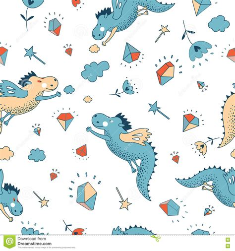 seamless pattern animals cute funny vector seamless pattern hand drawn doodle
