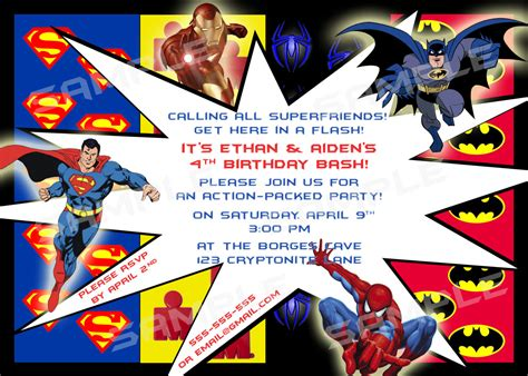 superhero birthday party invitations template best