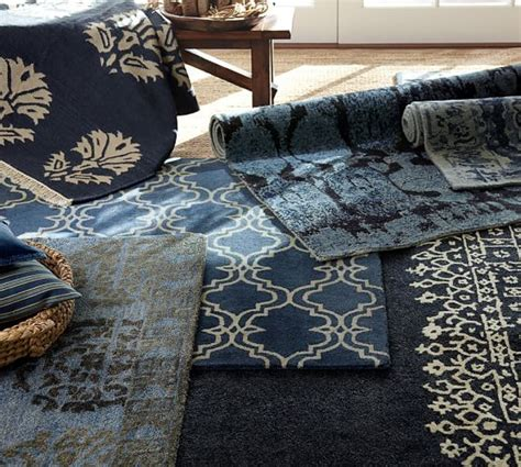 pottery barn desa rug desa bordered wool rug indigo blue pottery barn