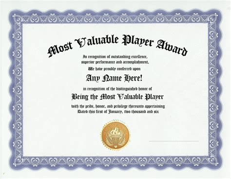 most valuable player award team mvp awards certificate ebay