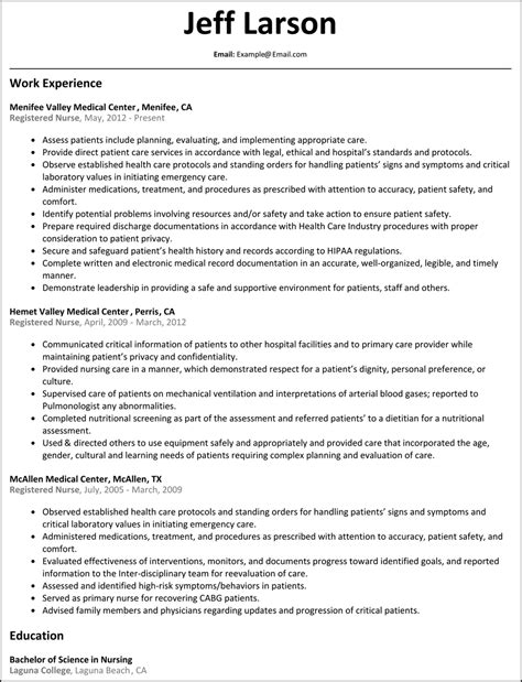Resume Sles For Registered Nurses Registered Resume Resumesles Net