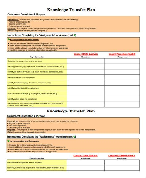 transition plan template 6 free sle exle format