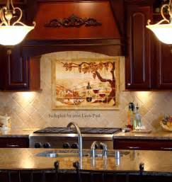 our mural cherry wood kitchen the border tiles around backsplash yellow
