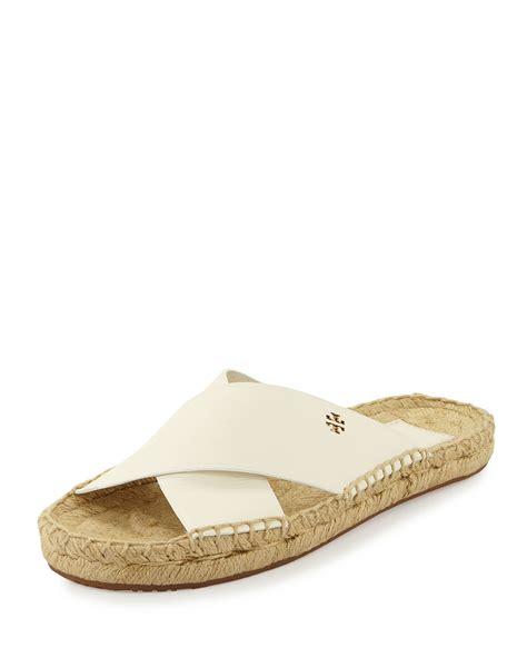 ivory flat sandals burch bima leather flat espadrille slide sandal in