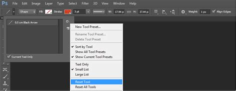 reset tool photoshop cc photoshop cs6 line tool prints arrow instead of line