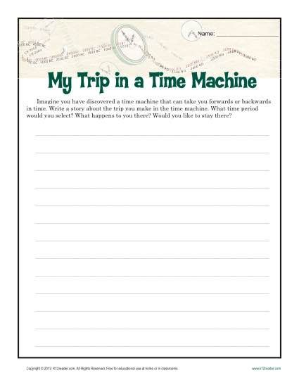 Descriptive Essay Topics For 6th Graders by My Time Machine Trip Creative Writing Prompt For 6th