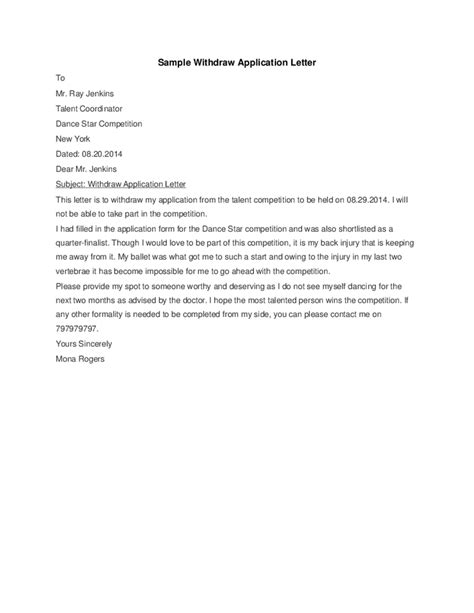 Writing Withdrawal Letter Fast Help Sle Letter For Application Withdrawal