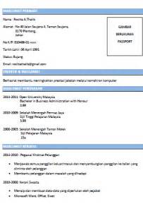 Contoh Format Resume by Contoh Cover Letter Resume Bahasa Melayu Cover Letter Templates