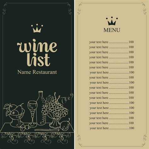 wine menu templates wine menu list template vector material 05 vector cover