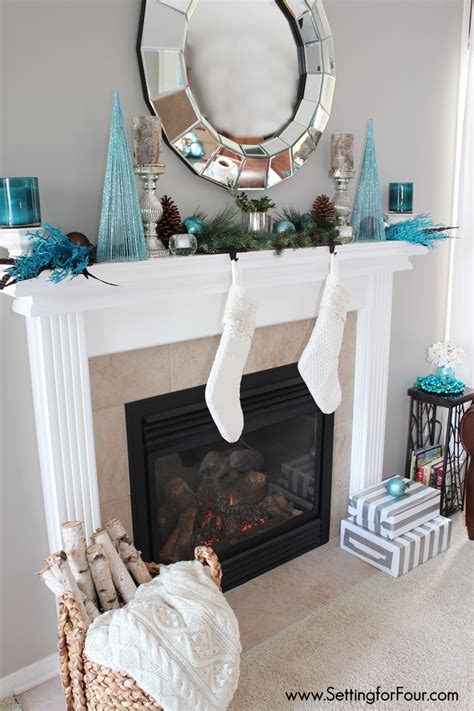 How To Decorate Fireplace Mantel Glam Christmas Mantel Setting For Four