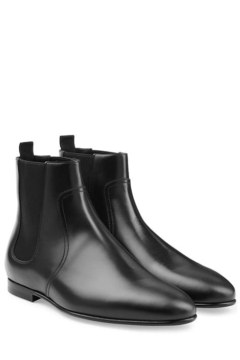 burberry boots mens burberry leather chelsea boots in black for lyst