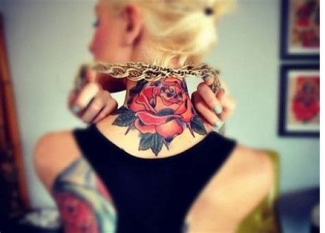 rose tattoo on back of neck on back of neck taaaats