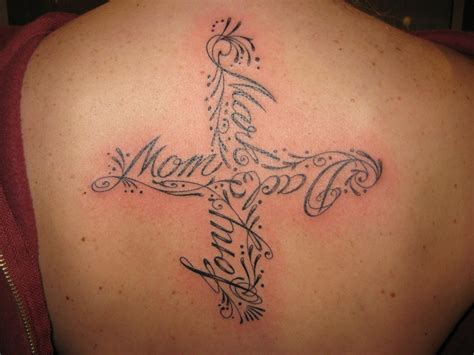 cross with names tattoo designs cross tattoos for great designs ideas