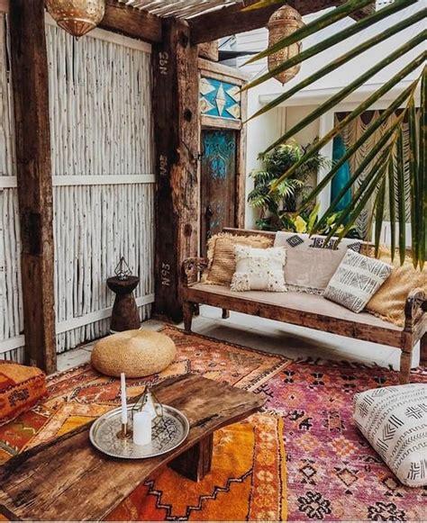 la superposition des tapis terrasse ethnique boheme