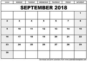 Free Printable Calendar 2018 September 2018 Calendar Template