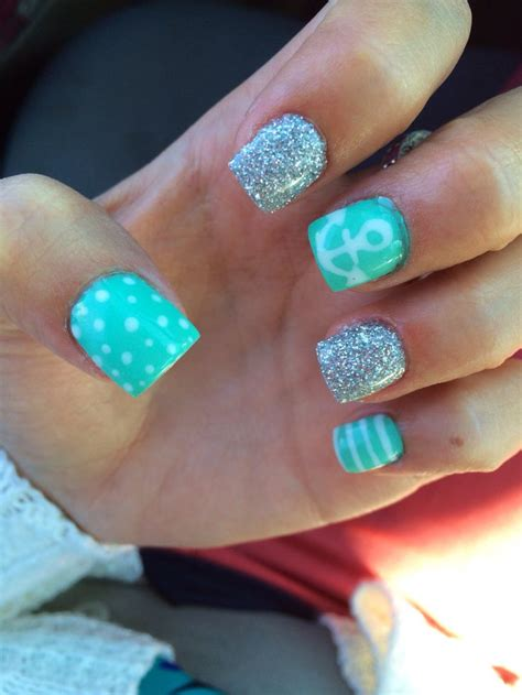 teal gel nail designs cute teal anchor gel nails gel nails cute nails