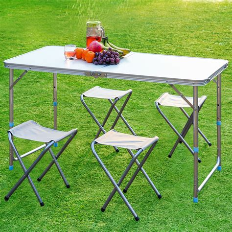 portable folding height adjustable table stool set picnic