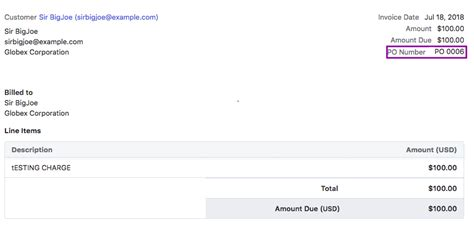 what is invoice po number purchase order number chargebee docs